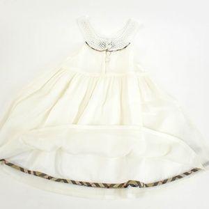 BURBERRY White & Nova Check Crochet Silk Sun Dress